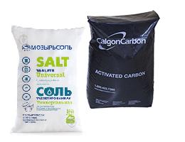 Таблетована сіль, вуголь та смола для колон